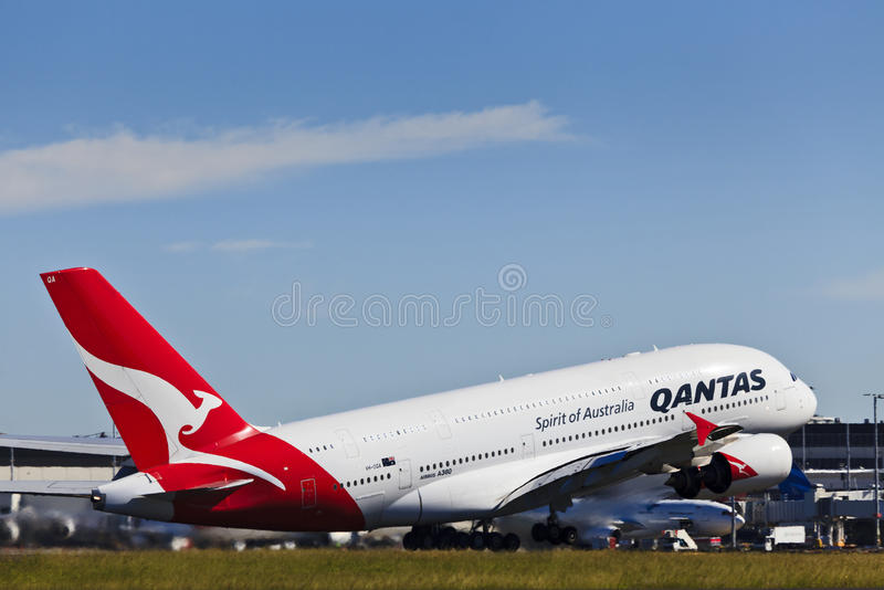 Download Air 380 Qantas day up editorial stock photo. Image of industry - 24645553