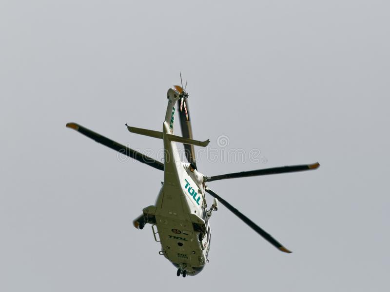 Air Ambulance on approach to Gosford Hospital. January ?, 2019 stock photo