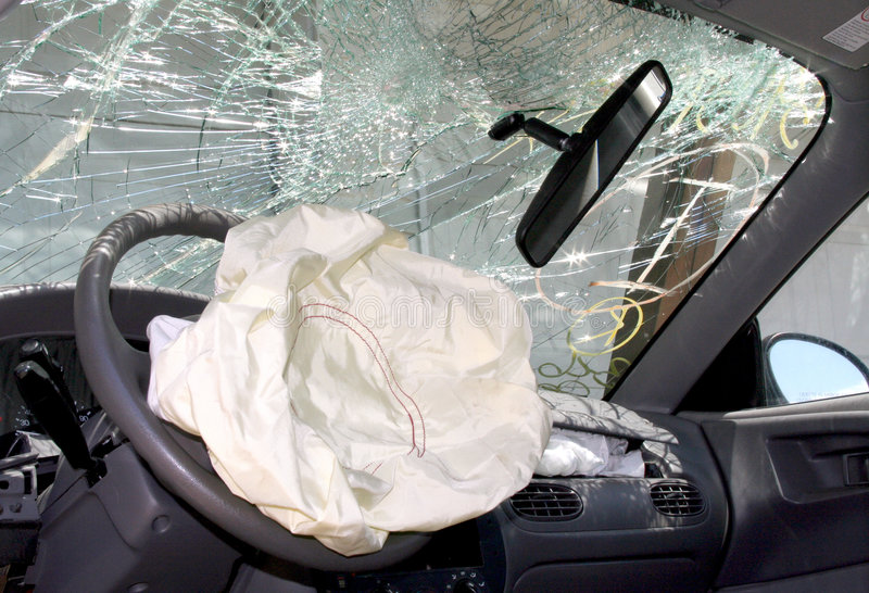 Air Bag Deployed in Car Wreck Aftermath royalty free stock image