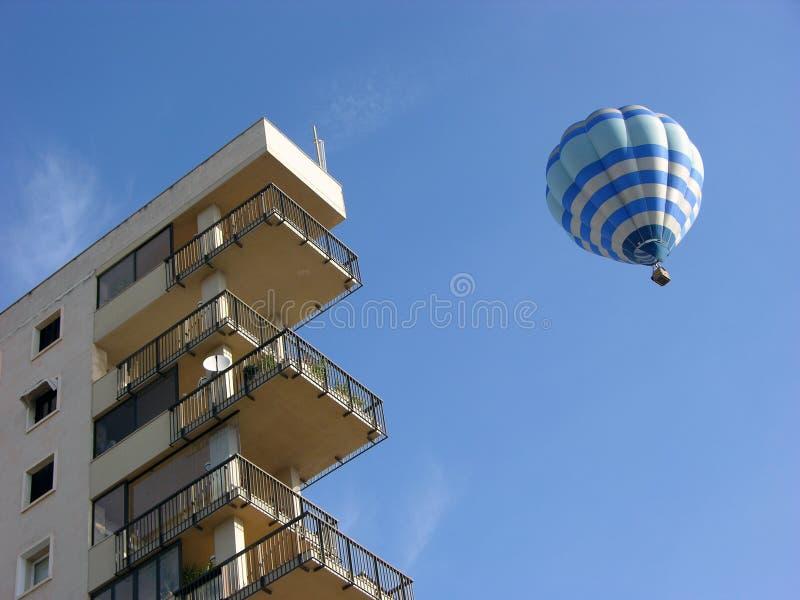 Air ballon in Malaga,Spain. Air balloon in Malaga blue sky oposite sky scraper stock photo