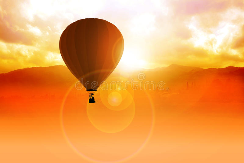 Air Balloon. Photo manipulation of an air balloon at the sunrise stock illustration
