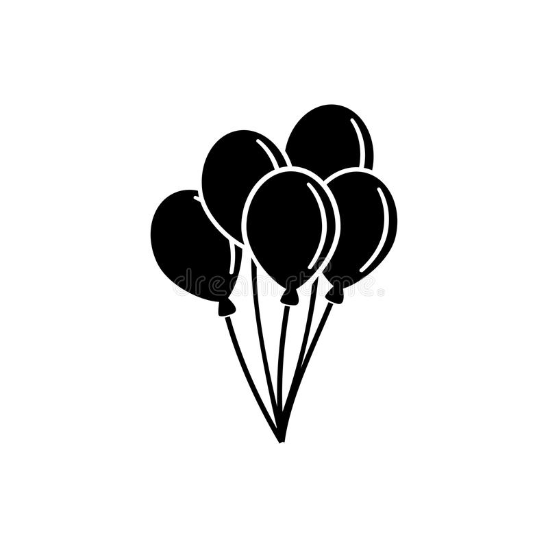 Air Balloon, Bunch of Balloons Flat Vector Icon royalty free illustration
