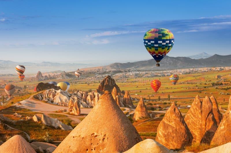 Air balloon in Cappadocia, Turkey. Hot air balloon flying over Cappadocia region, Turkey royalty free stock photos
