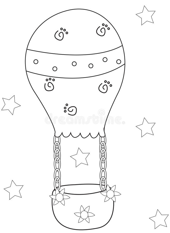 Download Air Balloon Coloring Page Stock Illustration Of Artwork