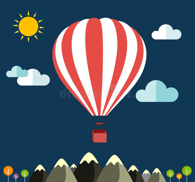 Air balloon flying over the mountain Icons of traveling royalty free illustration