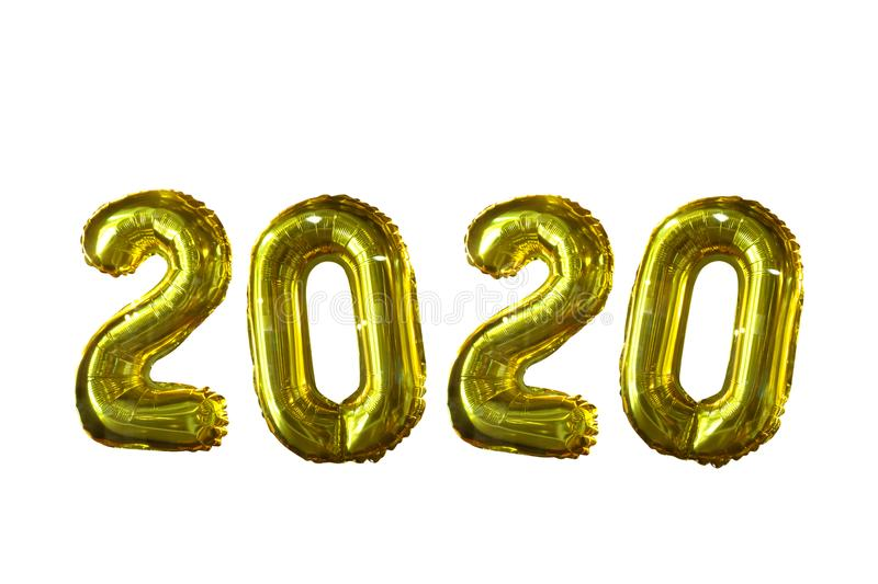2020 air balloon isolated on white background - Happy New Year 2020 royalty free stock photo