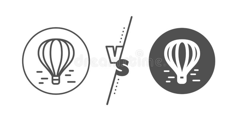 Air balloon line icon. Flight transport with basket sign. Vector royalty free illustration