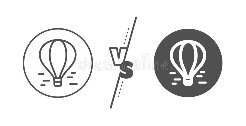 Air balloon line icon. Flight transport with basket sign. Vector stock illustration
