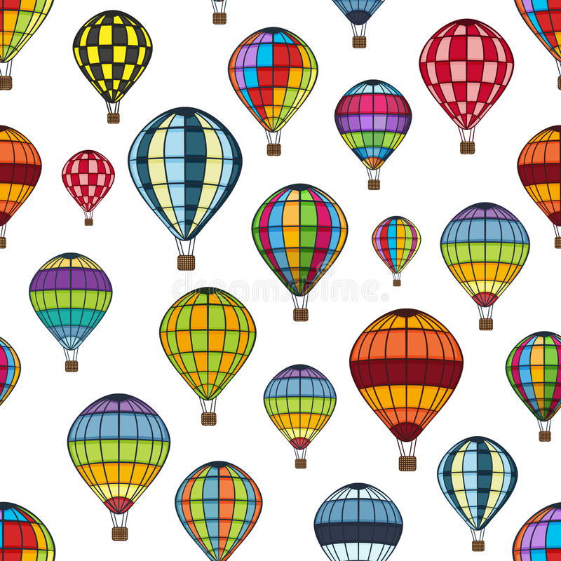 Air balloon pattern. Isolated objects on a white background stock illustration