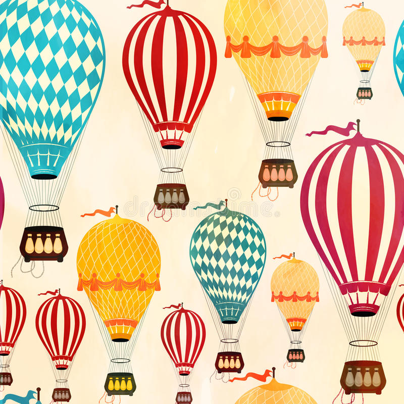 Air balloon pattern. Vintage Color Air balloon pattern. Vector illustration royalty free illustration