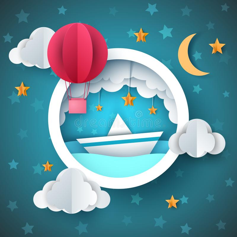 Air balloon, ship illustration. Cartoon sea landscape. royalty free illustration