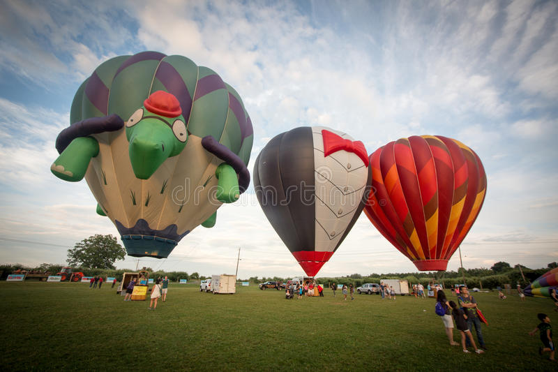 Air Balloon Show and crowd stock image