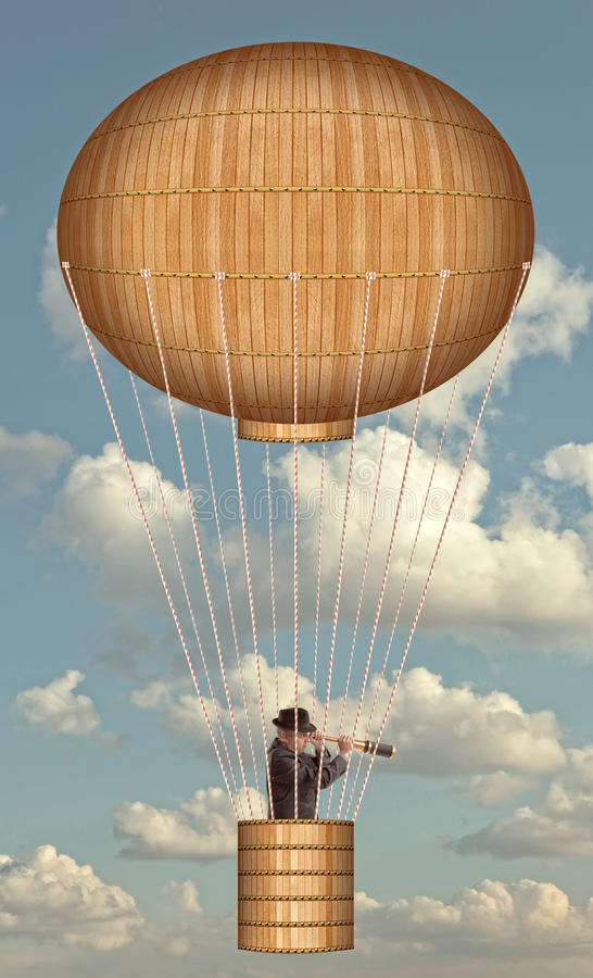 Air balloon, Steampunk style stock photo