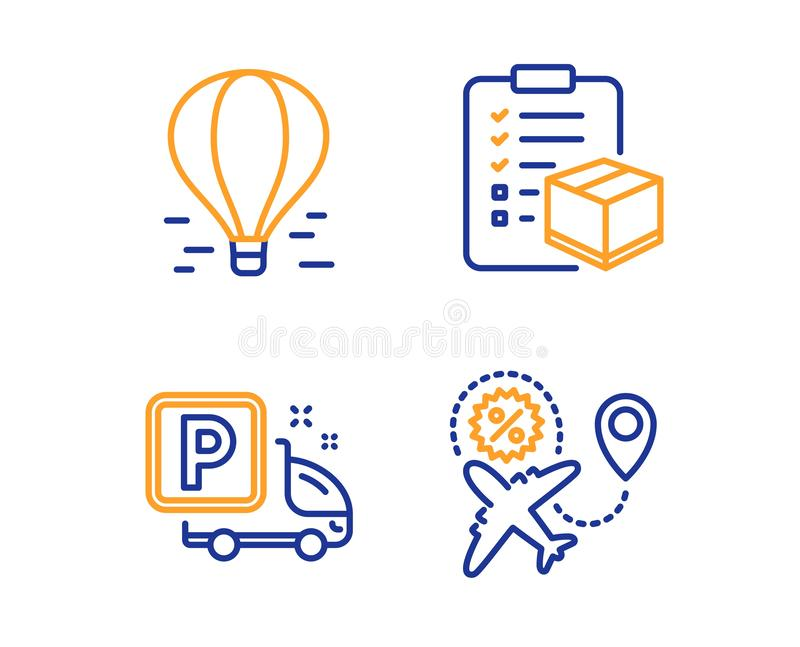 Air balloon, Truck parking and Parcel checklist icons set. Flight sale sign. Vector vector illustration