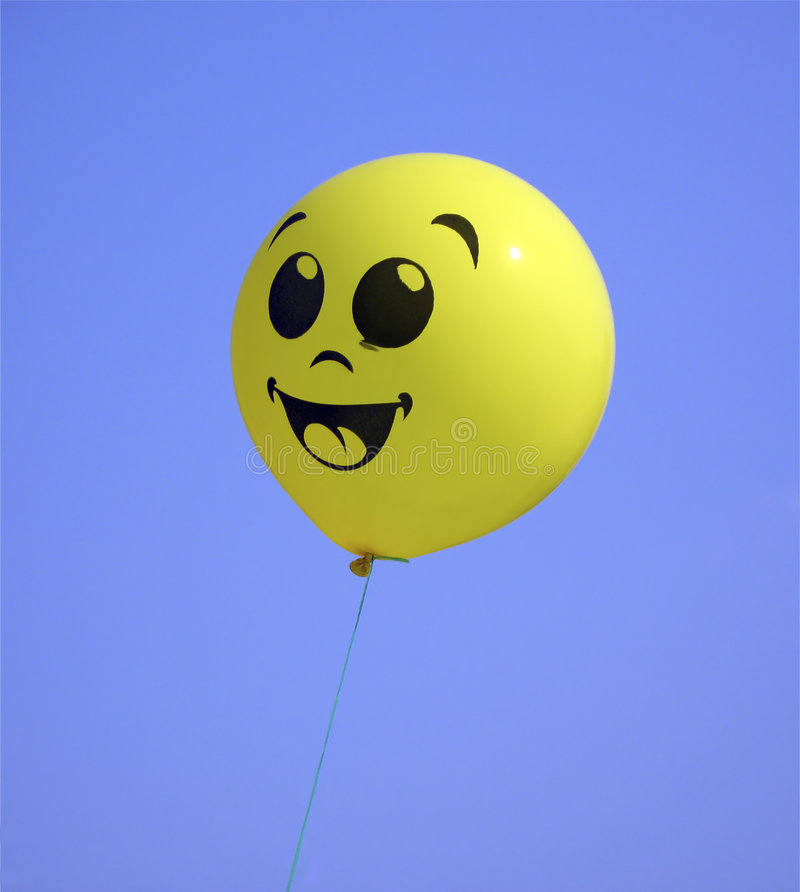 Air balloon, yellow on sky royalty free stock images
