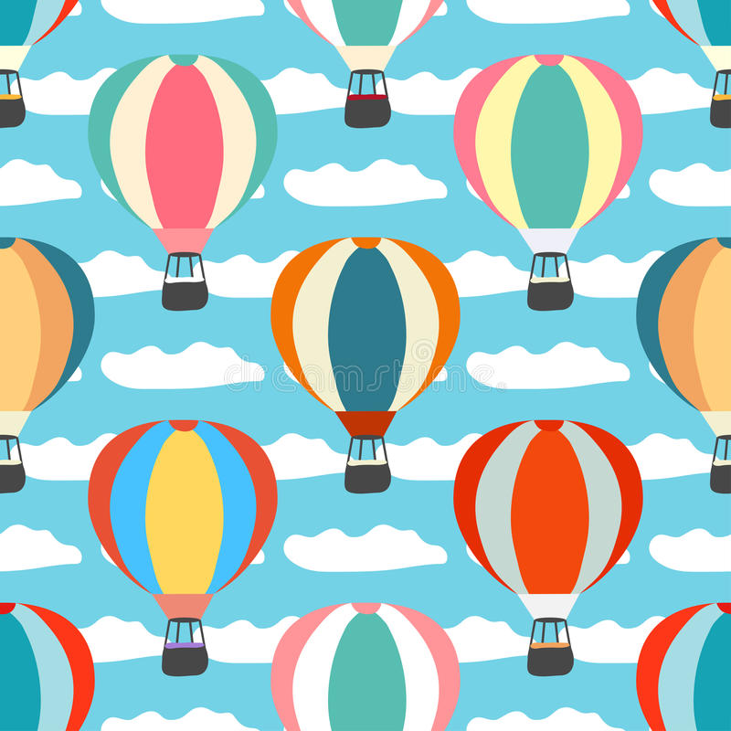 Air balloons and clouds seamless pattern vector illustration