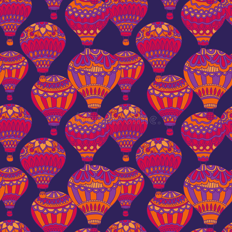 Air balloons purple vector seamless pattern. Colorful background in doodle style stock illustration