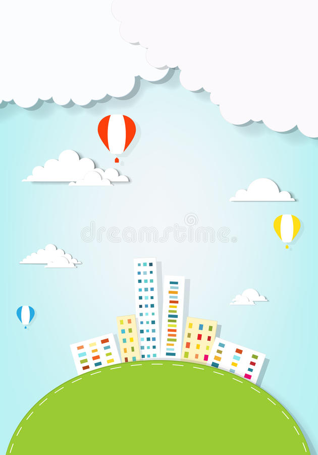 Air balloons flying over the city royalty free stock image