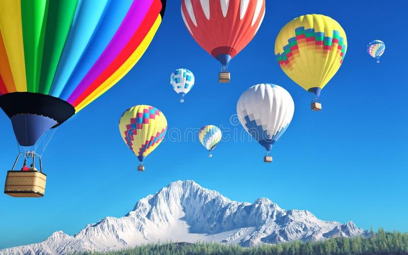 Air balloons. In mountainous landscape stock illustration