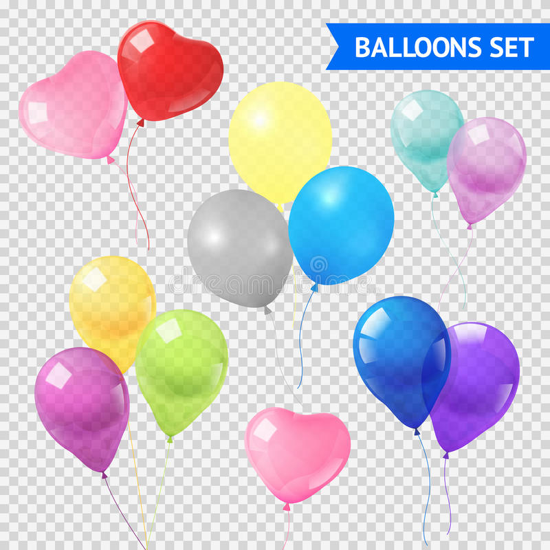 Air Balloons Set. Air balloons in different shapes and colors realistic set on transparent background isolated vector illustration royalty free illustration