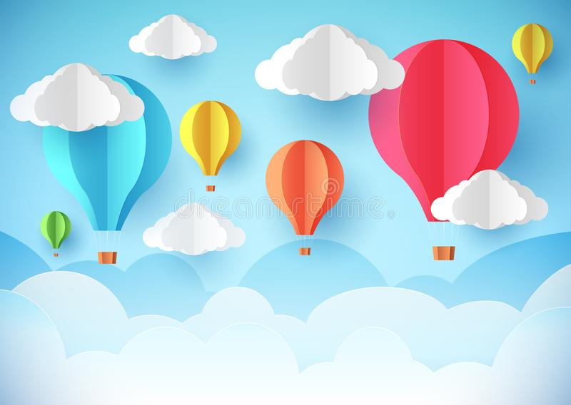 Air balloons in the sky. Template flyer, banner or poster. Paper style stock illustration