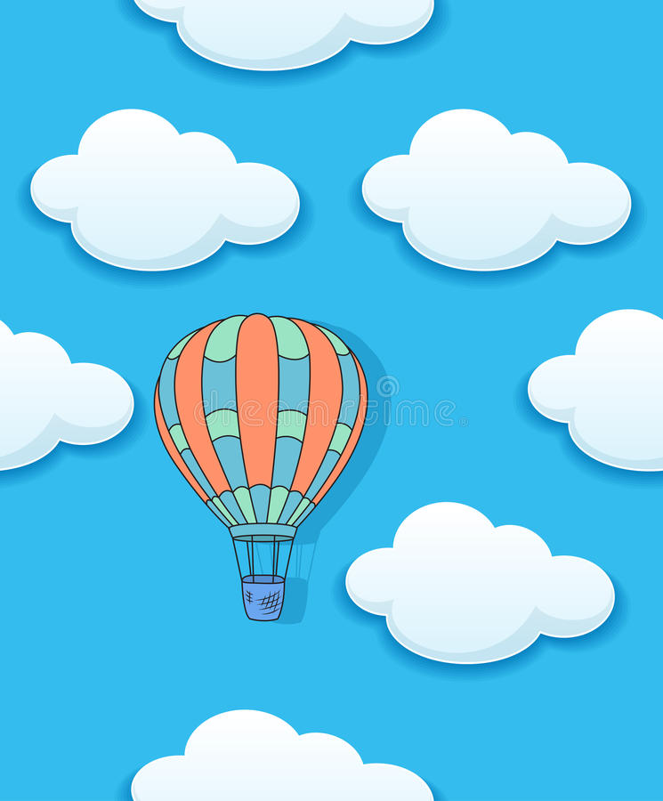Air Baloon And Clouds Seamless Stock Vector