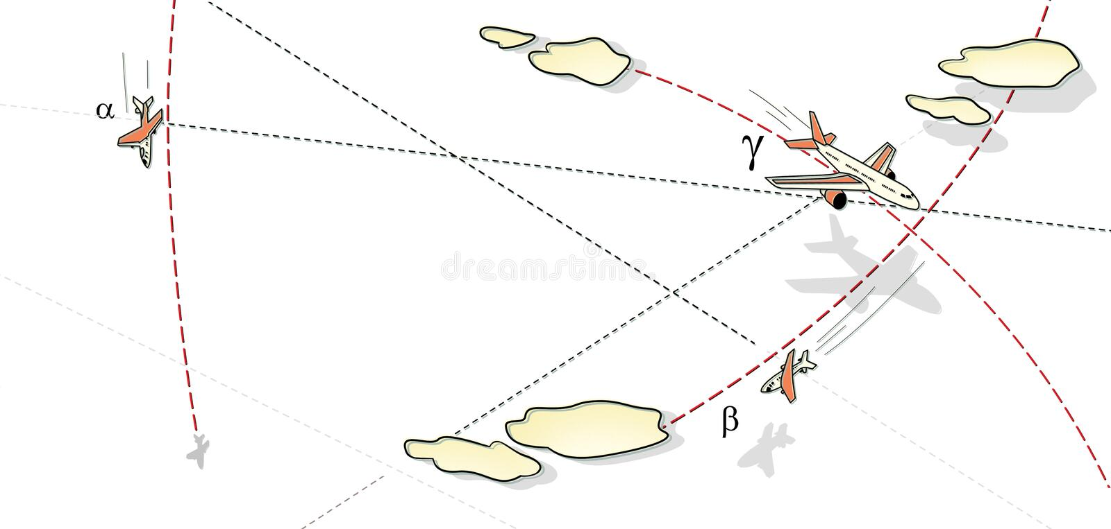 Air battle. Three aircraft in flight, in a peak and in a bend among the clouds and lines of the route. Rise and fall. Against the vector illustration