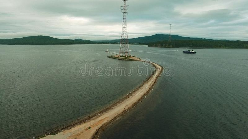 Air the Bay of Vladivostok with the Tokarevsky lighthouse. Sightseeing and tourism stock image