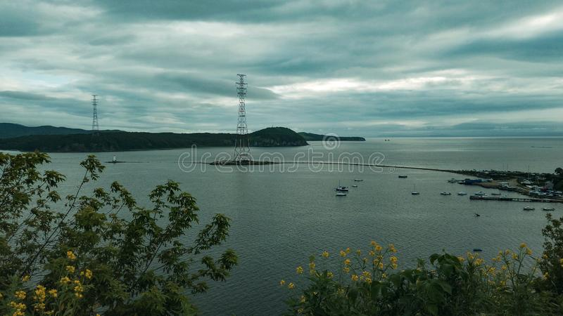 Air the Bay of Vladivostok with the Tokarevsky lighthouse. Sightseeing and tourism stock photo