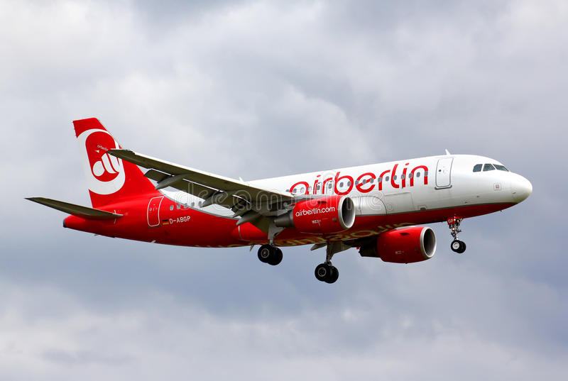 Air Berlin Airbus A319. BERLIN, GERMANY - AUGUST 17, 2014: Air Berlin Airbus A319 arrives to the Tegel International Airport royalty free stock images