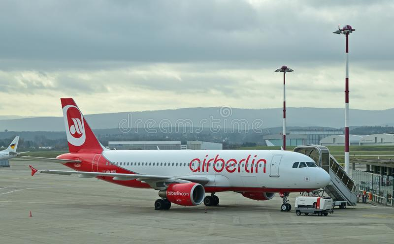 Air Berlin aircraft making a stop in a European airport in late 2015. Founded in 1978 by American company Lelco, but Air Berlin was sold and became a German stock photos