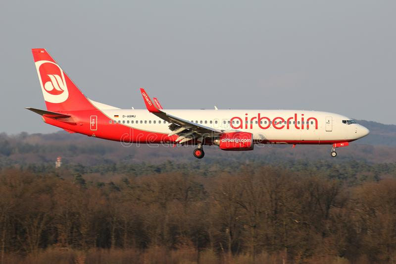 Air Berlin Boeing 737-800. German Air Berlin Boeing 737-800 with registration D-ABMU on short final for runway 14L of Cologne Bonn Airport. Air Berlin filed for stock photo