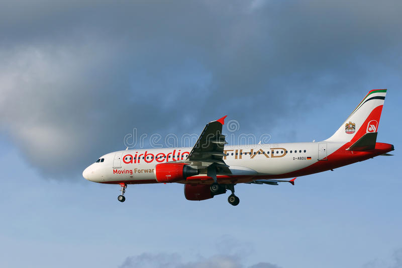 Air Berlin and Etihad airliners stock photography