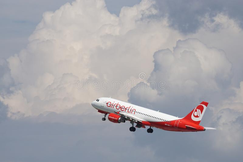 Air Berlin Red and White Airplane stock photos