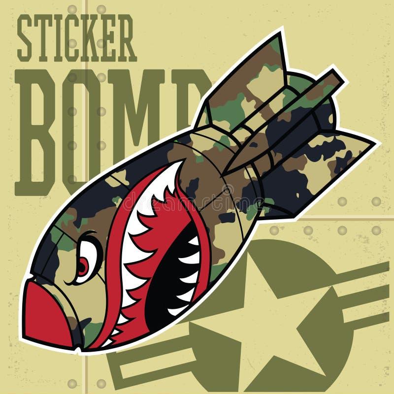 Free Air Bomb Flying Tiger Shark Mouth Sticker Vinyl Camo Vector Illustration Stock Images - 206013714