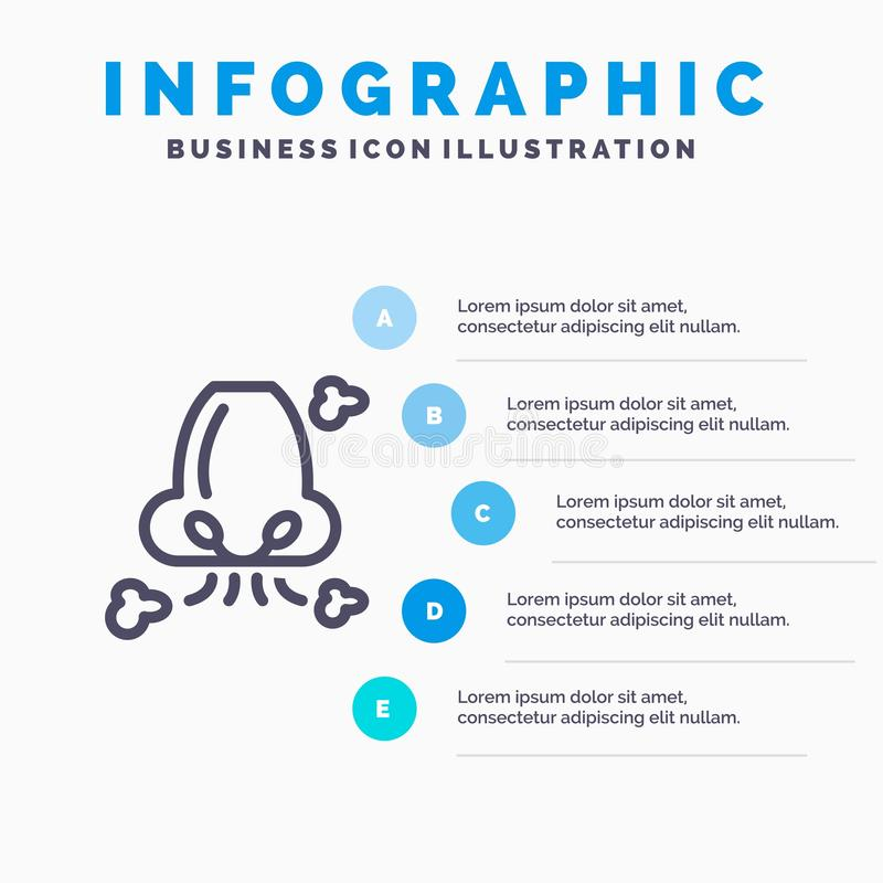 Free Air, Breathe, Health, Nose, Pollution Line Icon With 5 Steps Presentation Infographics Background Royalty Free Stock Photography - 148686477