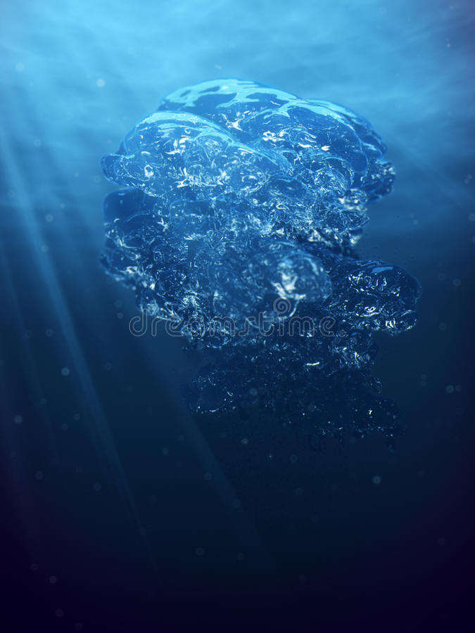 Air bubbles and sun ray in deep blue sea. Abstract underwater scene air bubbles and sun ray in deep blue sea royalty free stock photo