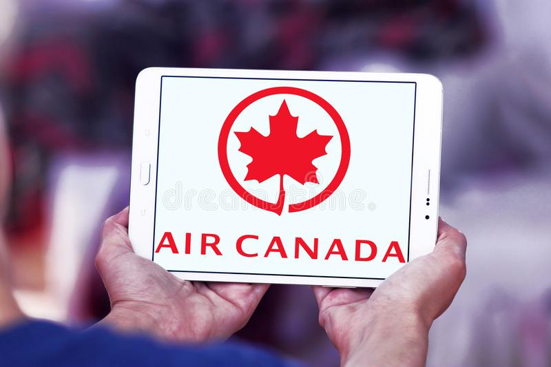 Air Canada logo. Logo of Air Canada on samsung tablet . Air Canada is the flag carrier and largest airline of Canada stock photo