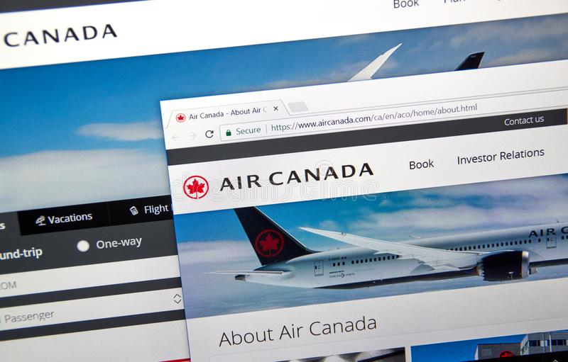 Air Canada official web site stock image