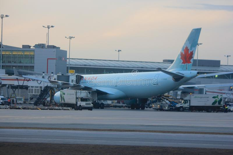 Air Canada plane at the Toronto airport stock photography