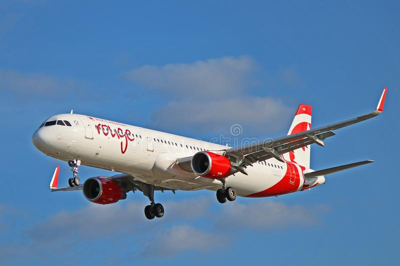 Air Canada Rouge Airbus A321-200 On Final Approach. An Air Canada Rouge Airbus A321-211 photographed on final approach to Toronto Pearson International Airport stock photos