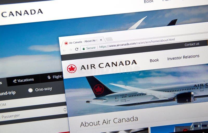 Air Canada urzędnika strona internetowa obraz stock