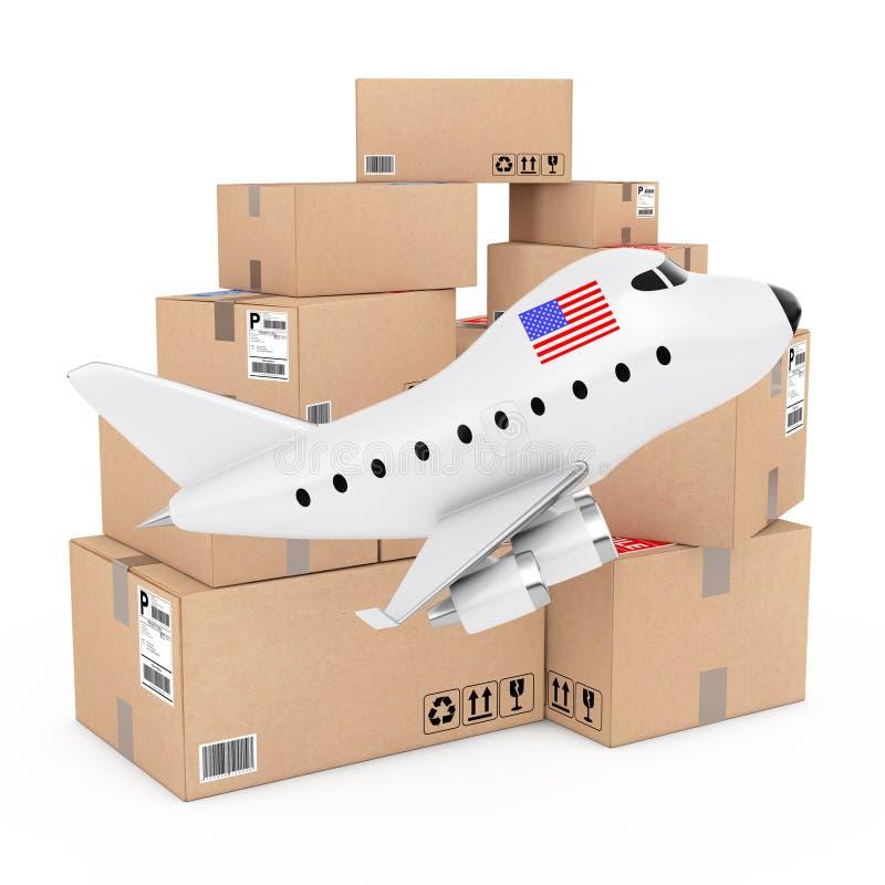 Air Cargo Concept. Cartoon Toy Jet Airplane with USA Flag near B stock illustration