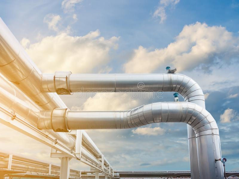 Air Chiller Pipeline and HVAC System of Department Store, Overhead Building Structure of Air Conditioning Chiller Pipe and Outlet. Cooling Systems. Insulation royalty free stock photography