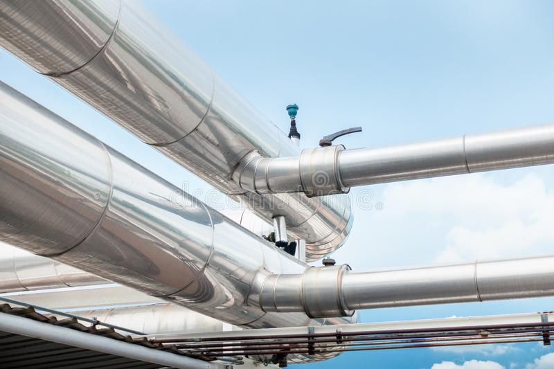 Air Chiller Pipeline and HVAC System of Department Store, Overhead Building Structure of Air Conditioning Chiller Pipe and Outlet. Cooling Systems. Insulation royalty free stock images