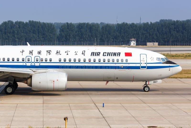 Air China Boeing 737-800, aeroporto de Pequim fotografia de stock