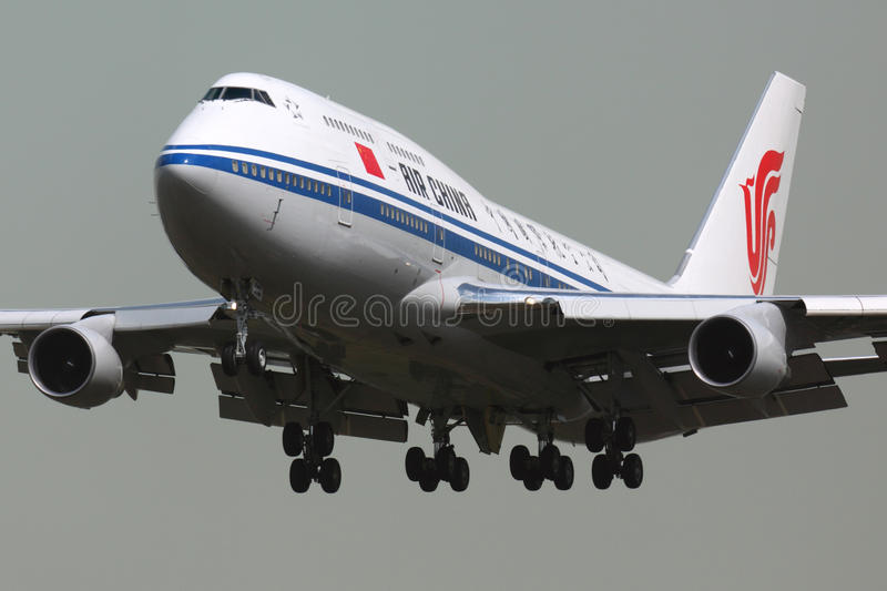 Air China Boeing 747-400 B-2447 landing at Sheremetyevo international airport with prime minister on board. stock photos