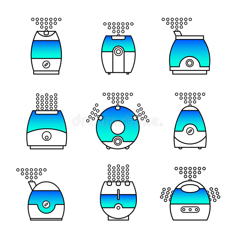Air cleaner set. Vector illustration of a humidifier. Line vector air cleaner icon. Air purifier set vector illustration