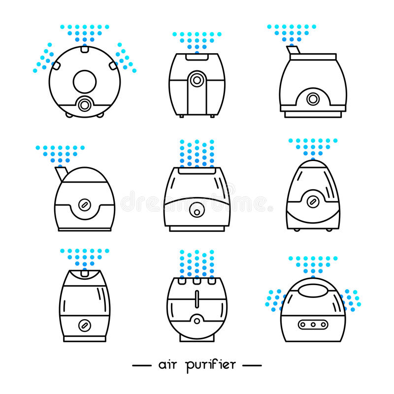 Air cleaner set. Vector illustration of a humidifier. Line vector air cleaner icon. Air purifier set royalty free illustration