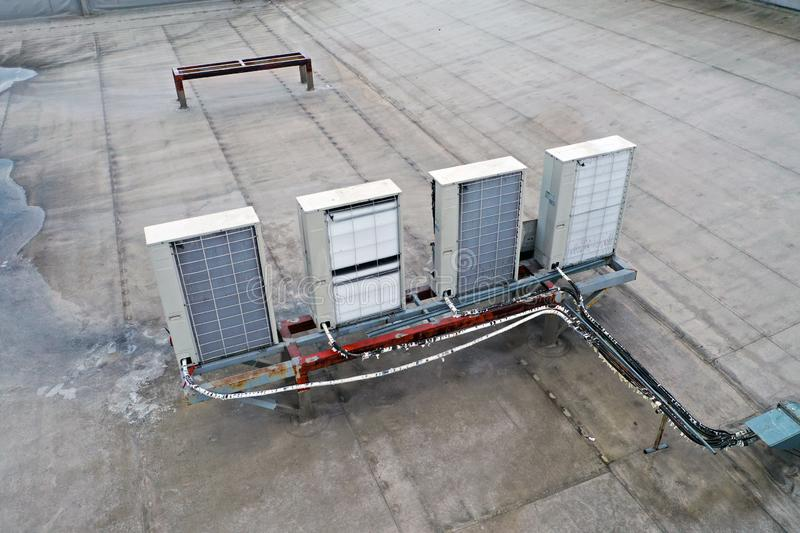 Air coditioing installed on the roof stock image